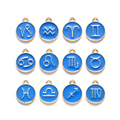 Alloy Enamel Pendants, Flat Round with Constellation/Zodiac Sign