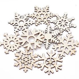 Snowflake Wood Cabochons