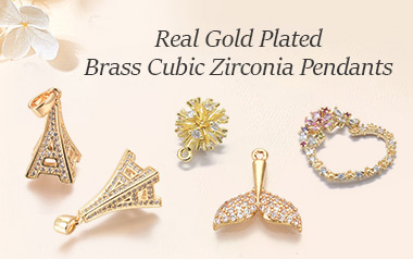 Real Gold Plated Brass Cubic Zirconia Pendants